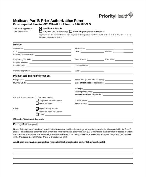 medicare prior authorization form