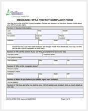 medicare privacy complaint form sample