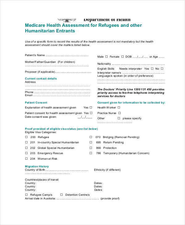 medicare refugee health assessment form