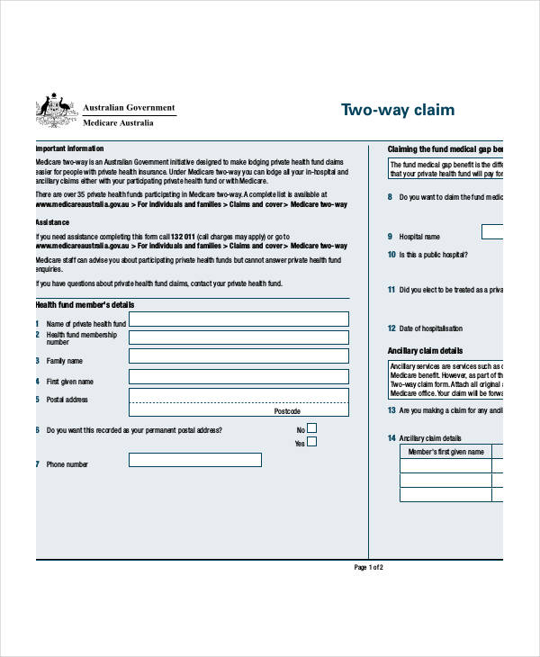 medicare two way claim form