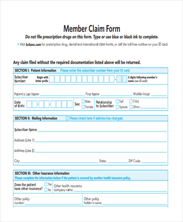 37 Sample Claim Forms