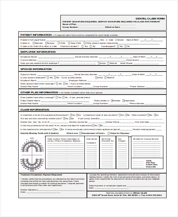 member dental claim form