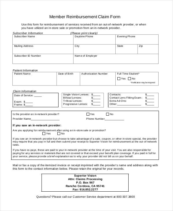 member reimbursement claim form