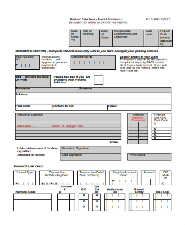 members expense claim form