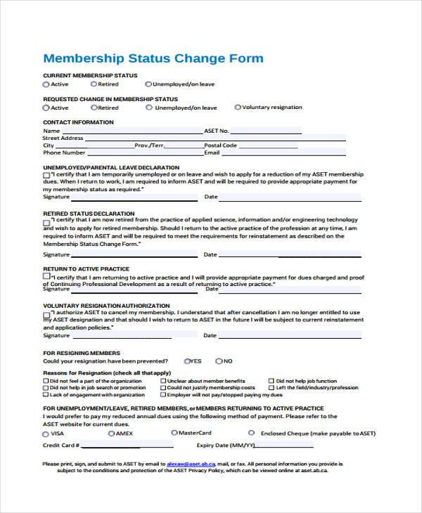 membership status change form