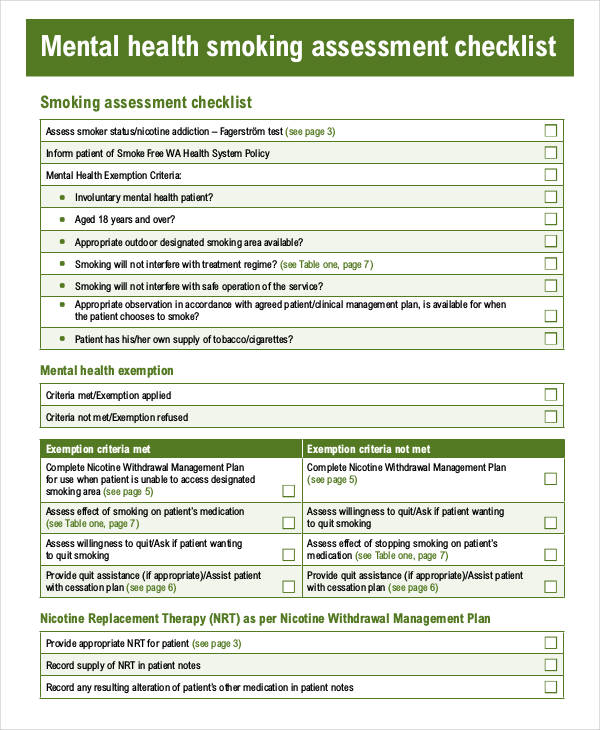 mental health assessment checklist form