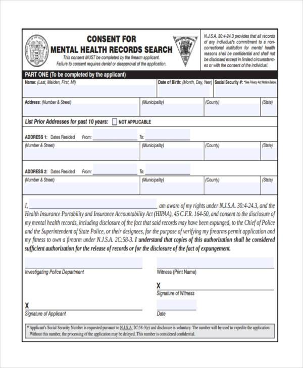 mental health consent form