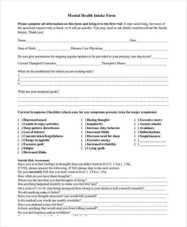 mental health intake assessment form