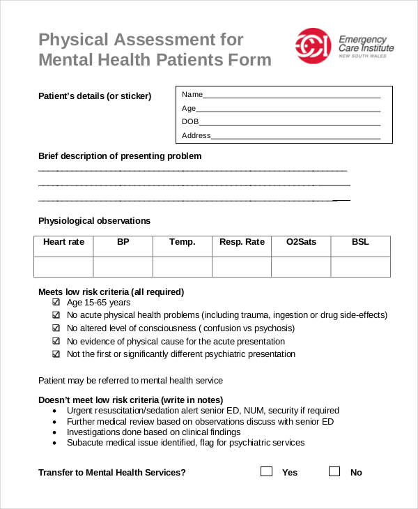 Mental Health Physical Assessment Form