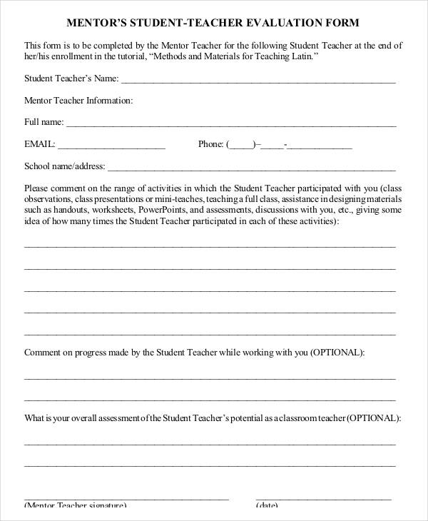 Student evaluation form template for Mentoring application templates