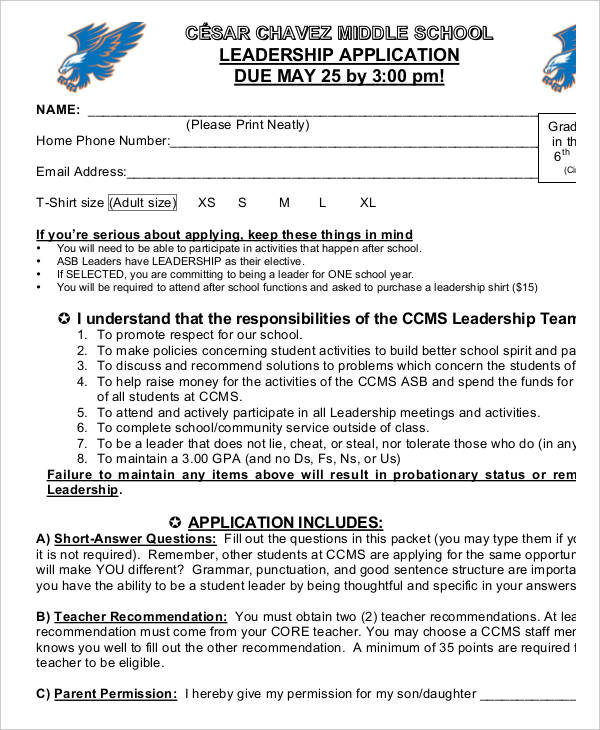 Free 30 Student Application Form Examples Pdf