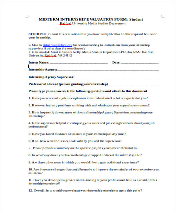 Student Evaluation Form In Doc