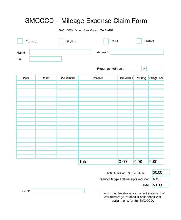 mileage expense claim form