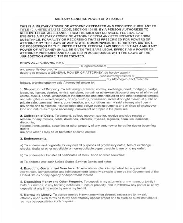military general power of attorney form2
