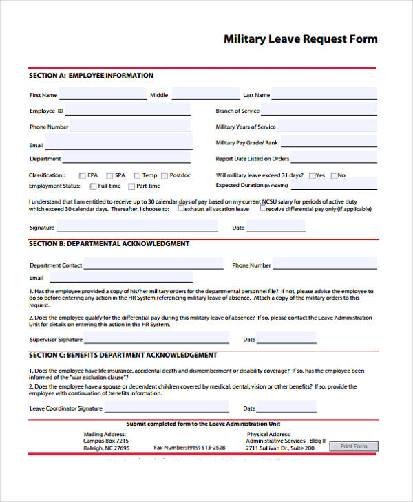 Request Form Template – Leave Form Templates