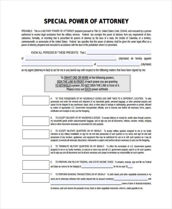 military special power of attorney form