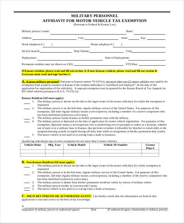 10  vehicle affidavit form sample