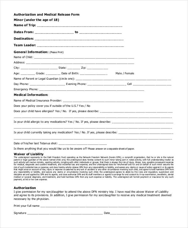Medical Release Forms – Physician Release Form