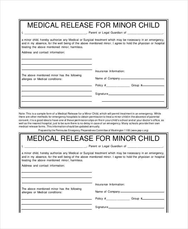 minor child medical release form