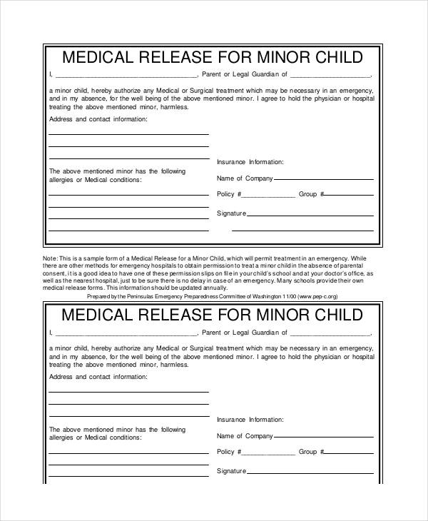 Minor Child Medical Release