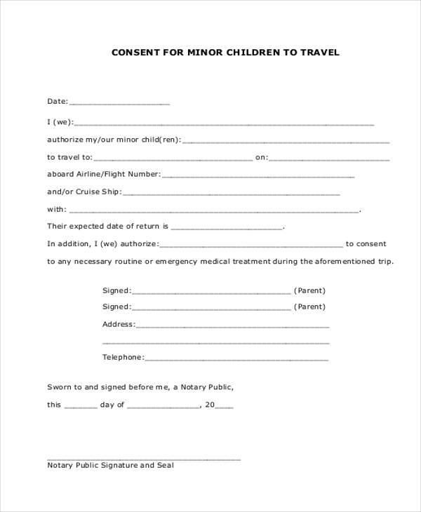 minor child travel consent form