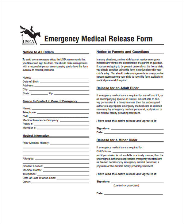 minor emergency patient release form
