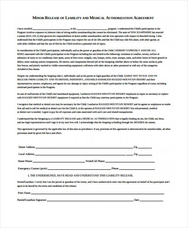 Minor Liability Medical Release Form  Medical Authorization Form Template