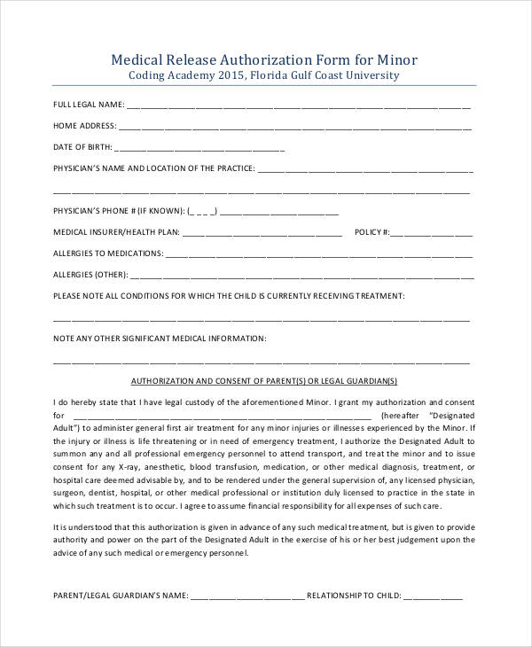 minor medical authorization release form1