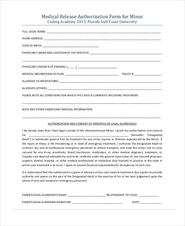 minor medical emergency release form1