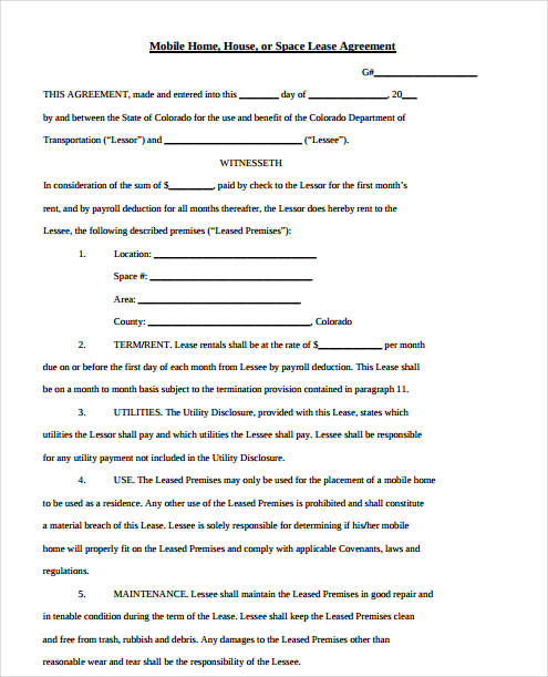 mobile home rental agreement form