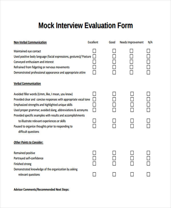 mock interview evaluation form1