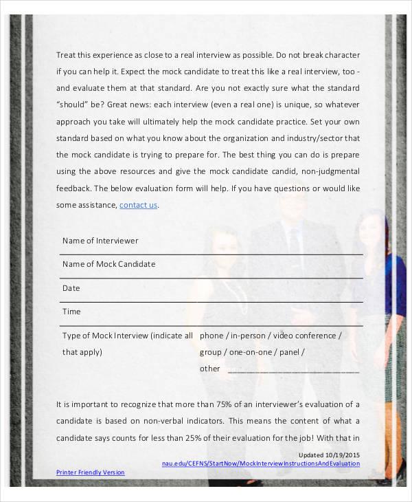 mock interview instruction evaluation form1