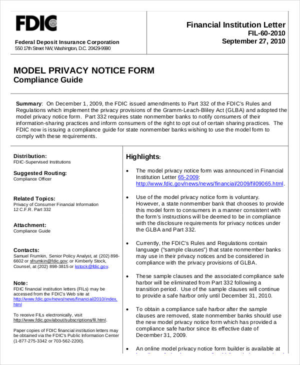 model privacy notice form