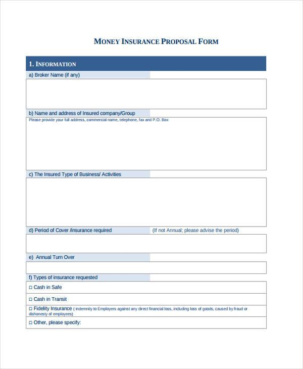 money insurance proposal form