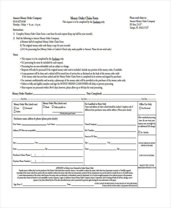 money order refund form