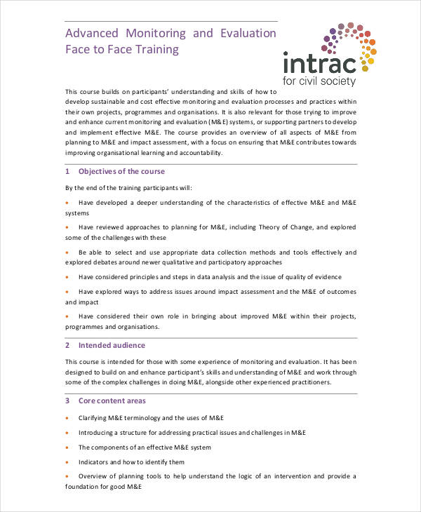 monitoring evaluation face to face training1