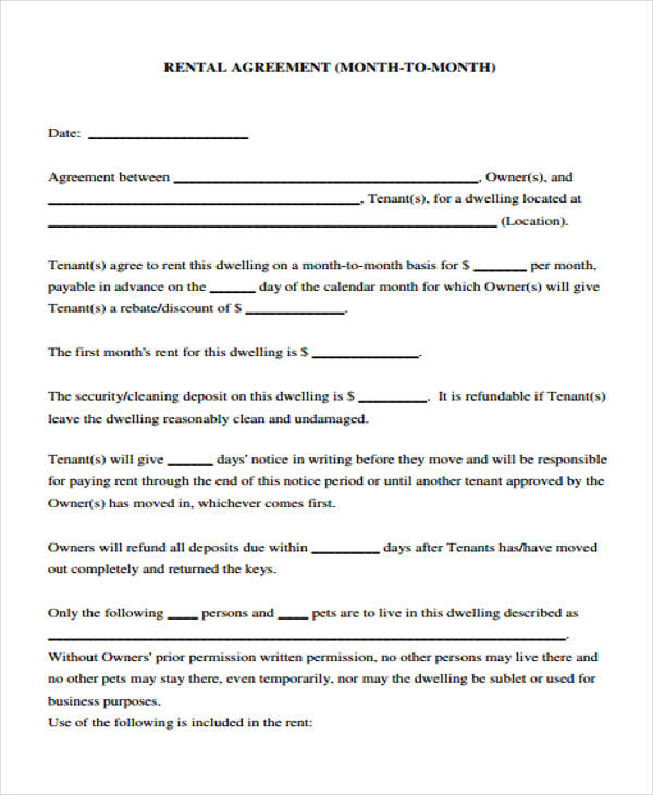 month to month rental contract agreement form
