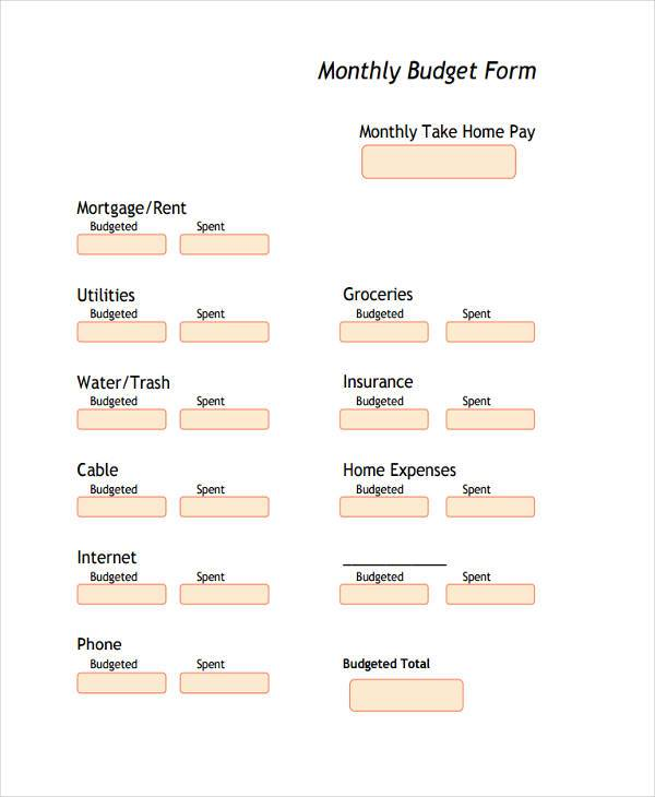 monthly budget form sample