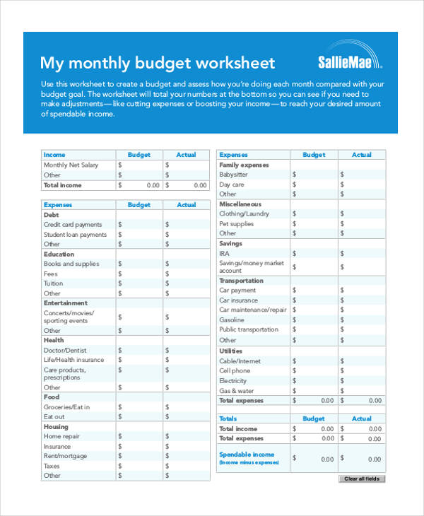 monthly budget worksheet form