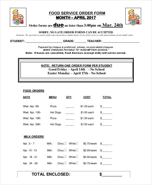 monthly food service order form