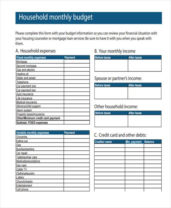 household expense form