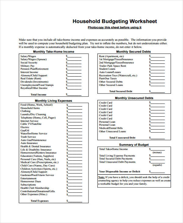 Household Budget Form  Free Sample Example Format Download