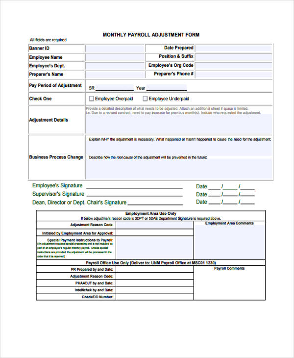 monthly payroll adjustment form
