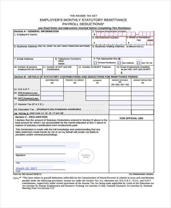 Printable Payroll Forms