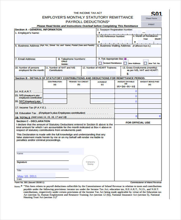 monthly payroll remittance form2