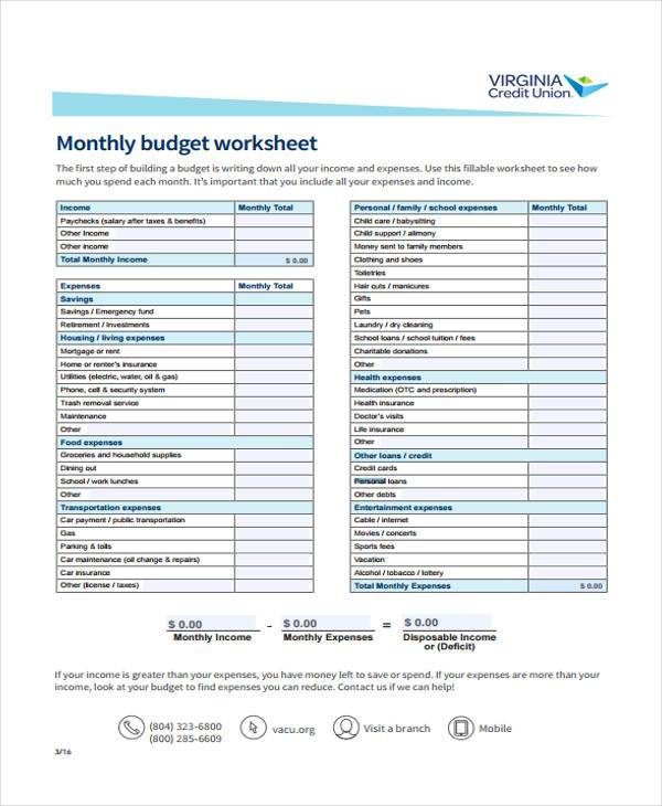 monthly personal budget form