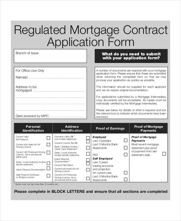 mortgage contract application form