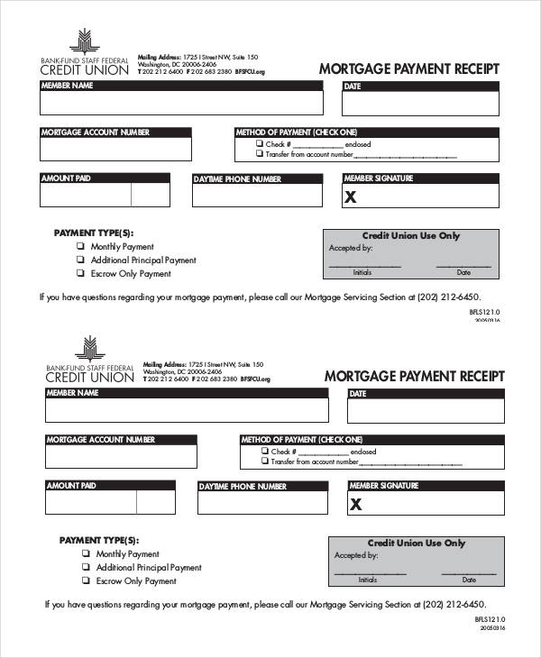mortgage payment receipt form1