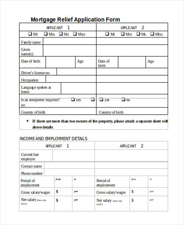 mortgage relief application form