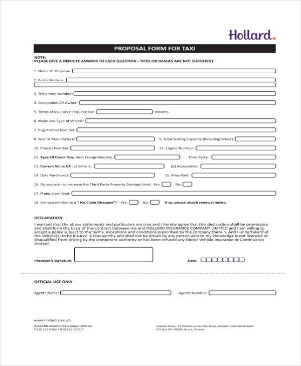 motor commercial taxi proposal form